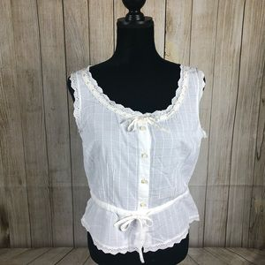LRL cropped ribbon laced blouse